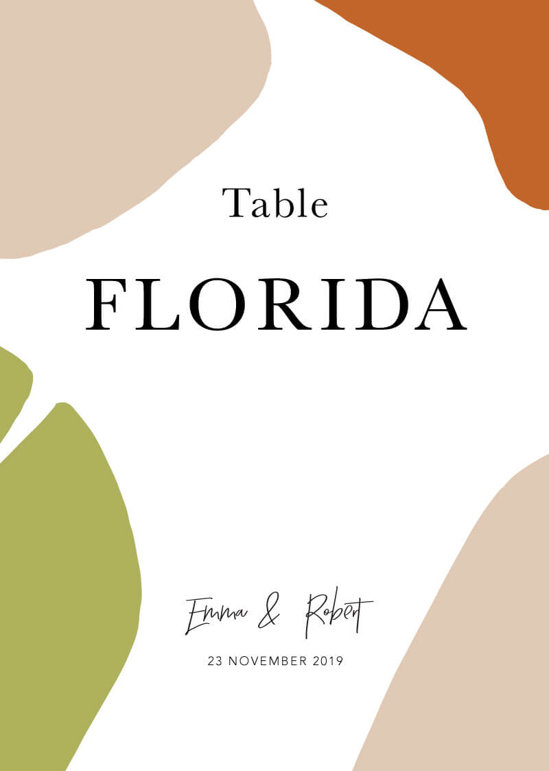 Tropical Camo - Table Numbers