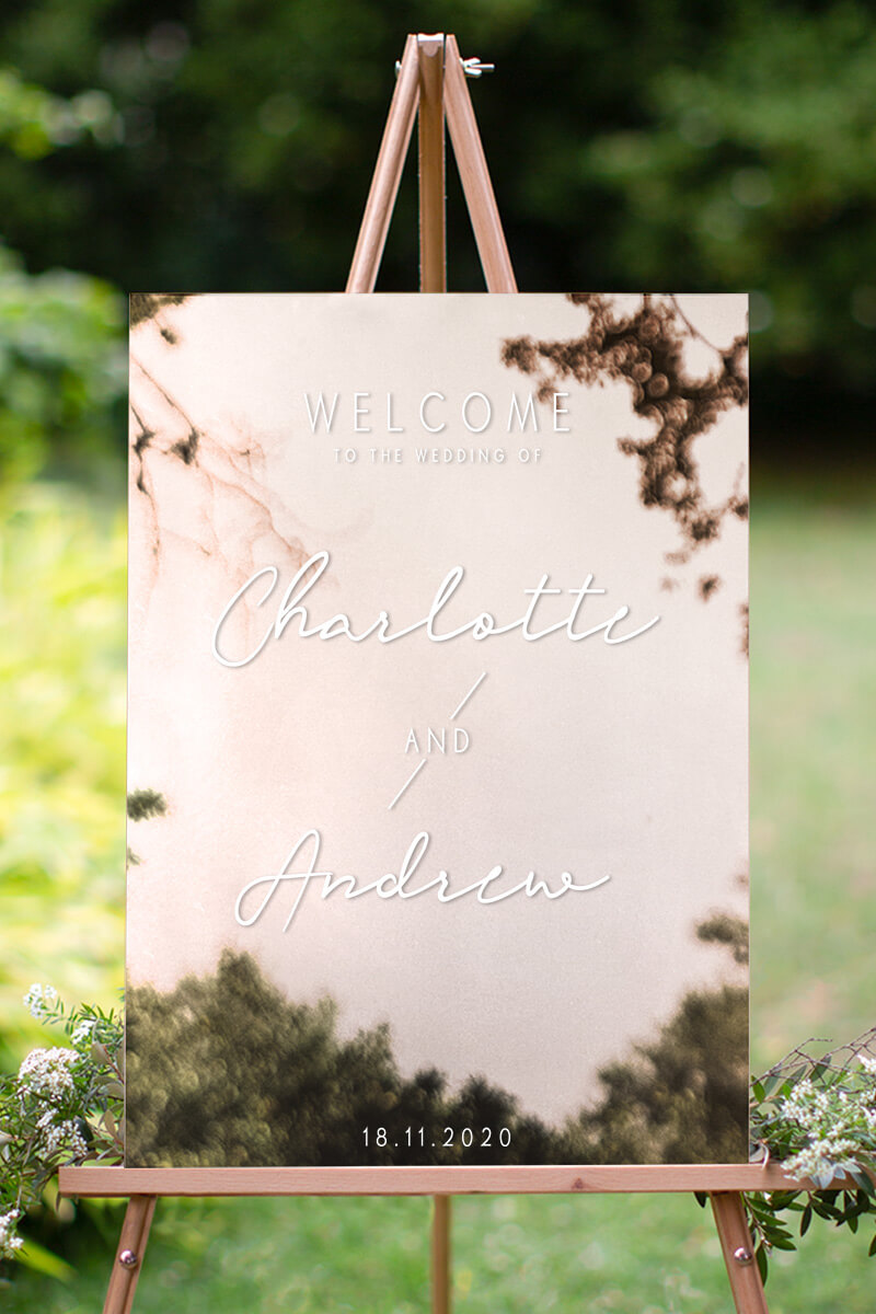 Blanc Mode - Rectangle Mirror - Wedding Signs