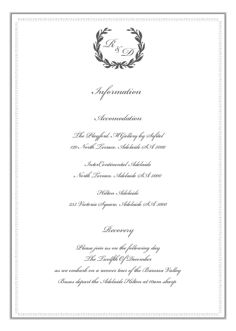 Regal Wreath - Information Card
