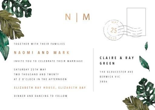 Moody Tropics Wedding Invitations - wedding invitations