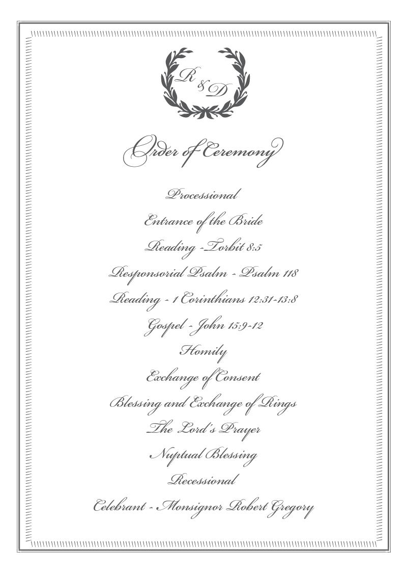 Regal Wreath - Order Of Service