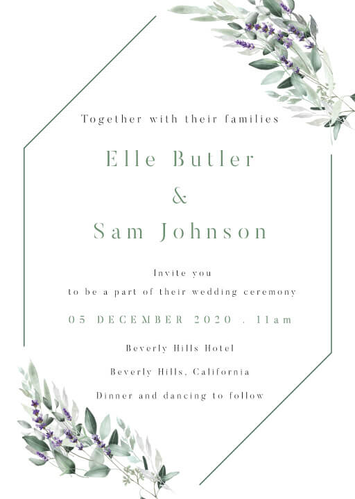 Lavender Leaves Wedding Invitations - wedding invitations