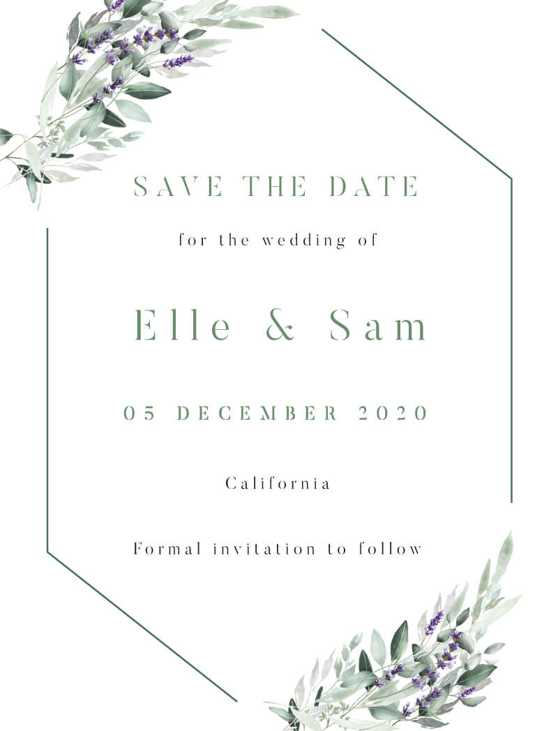 Lavender Leaves - Save The Date