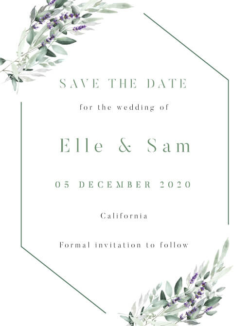 Lavender Leaves Save The Date - Save The Date