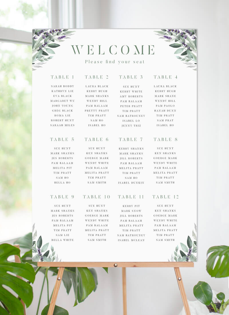 Lavender Leaves - Seating Charts