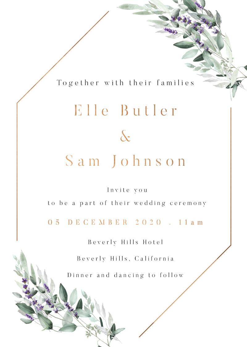 Lavender Leaves - Wedding Invitations