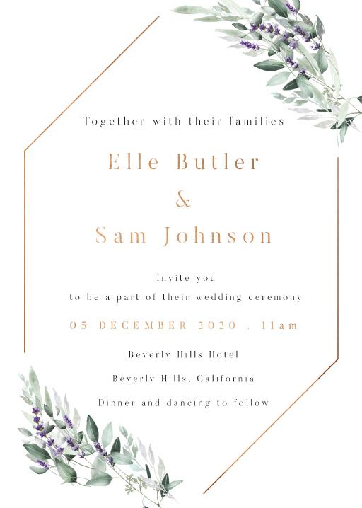 Lavender Leaves Wedding Invitations - wedding invitations