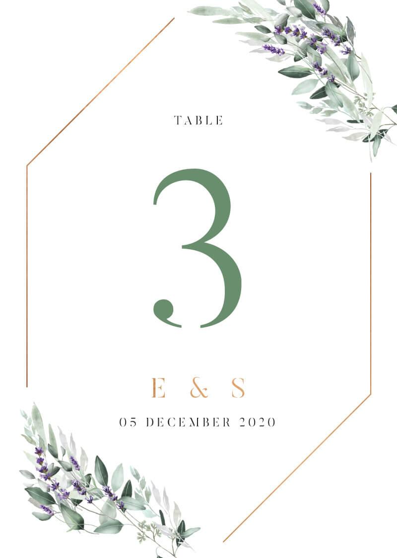 Lavender Leaves - Table Numbers