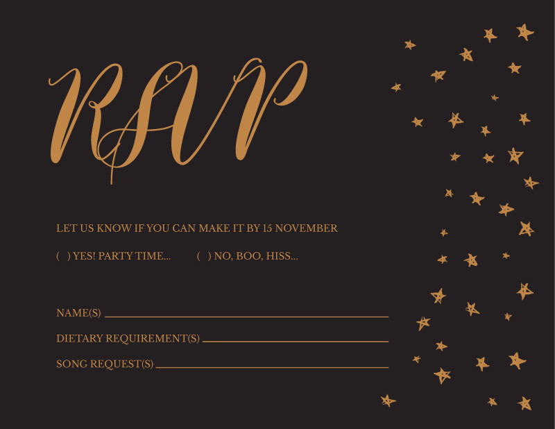 Stars in the night - RSVP Cards