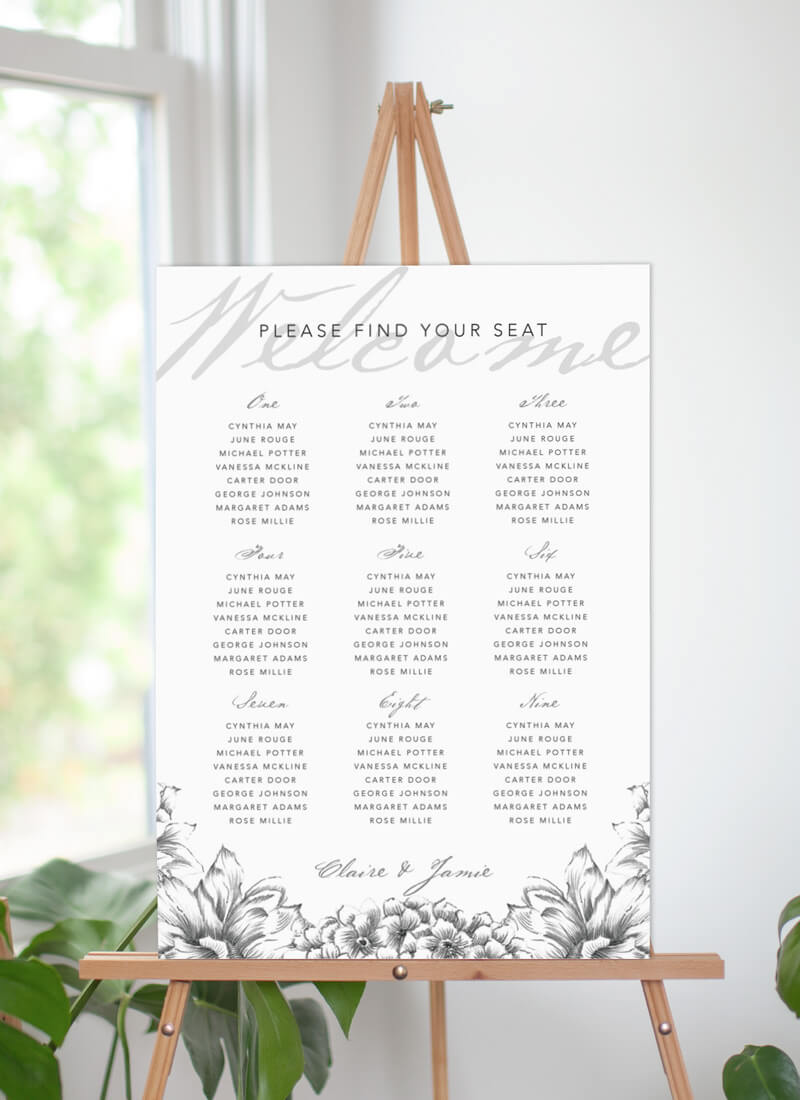 Pencil Floral Crown - Seating Charts