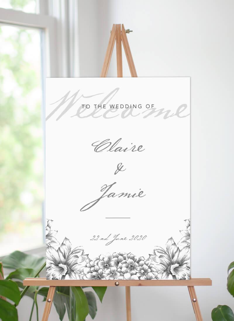 Pencil Floral Crown - Wedding Signs
