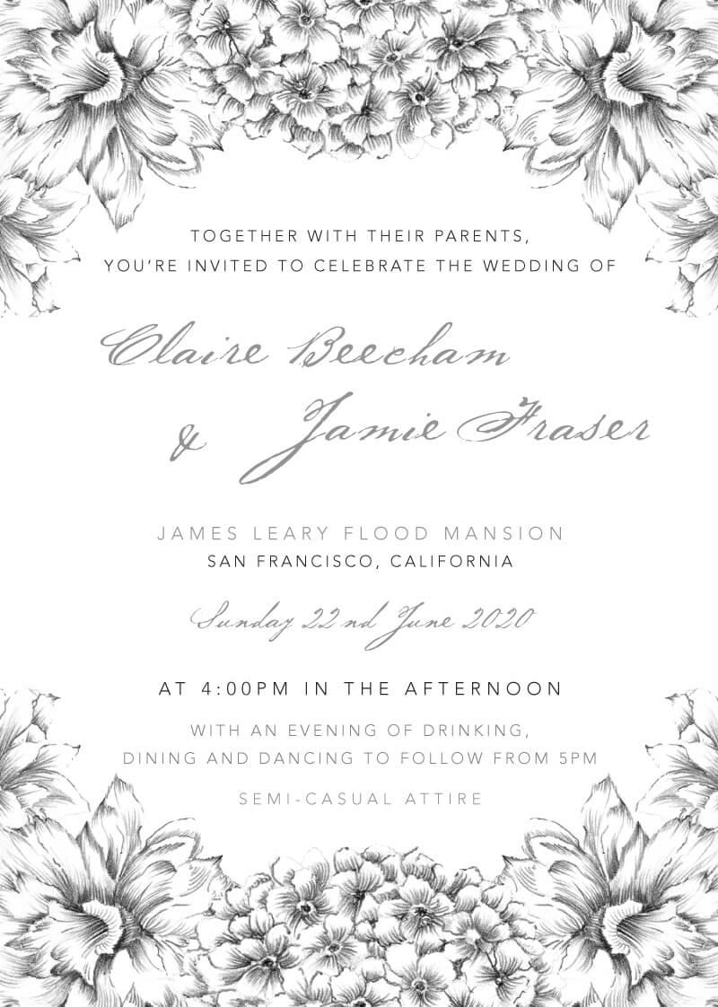 Pencil Floral Crown - Wedding Invitations
