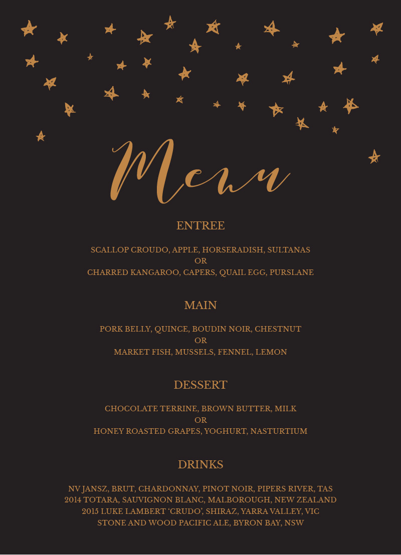 Stars in the night - Menu Card