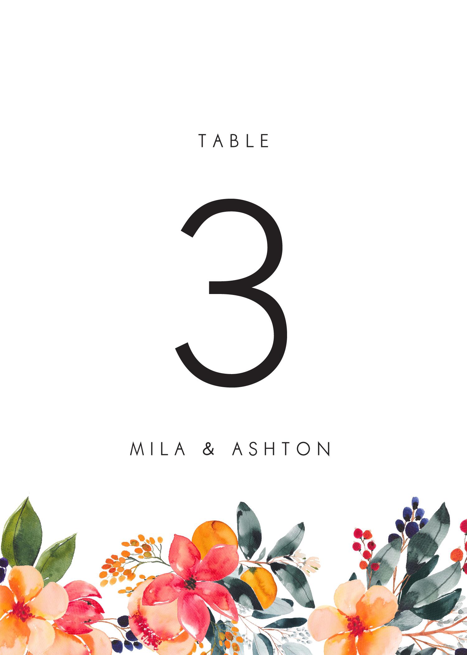 Floral Crown Georgia - Table Numbers