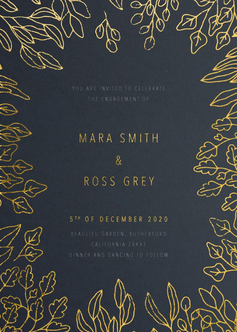 Gold Foil Frame - Engagement Invitations