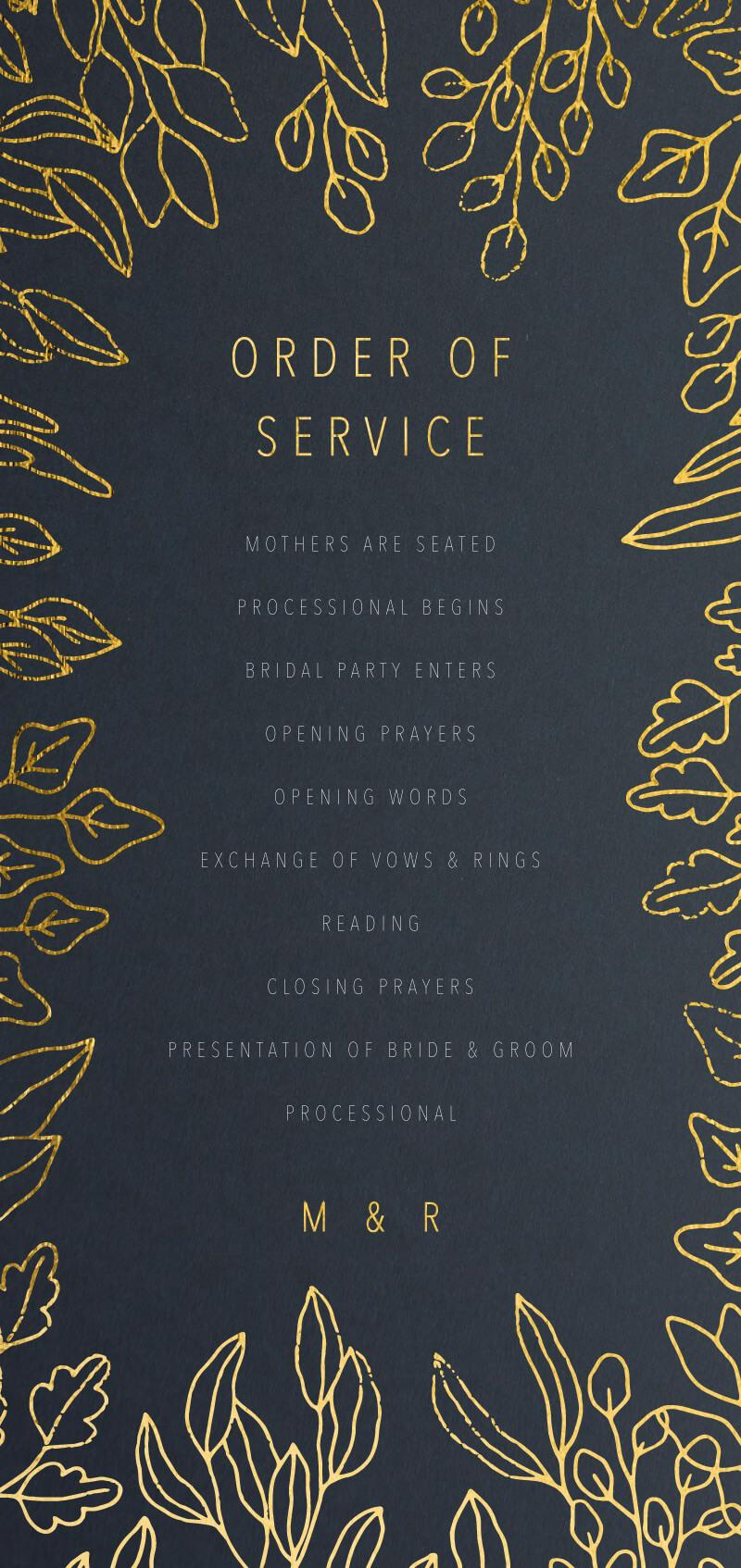 Gold Foil Frame - Wedding Programs