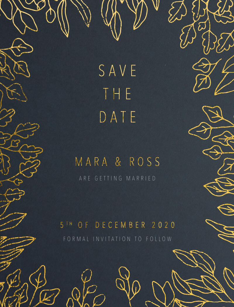 Gold Foil Frame - Save The Date