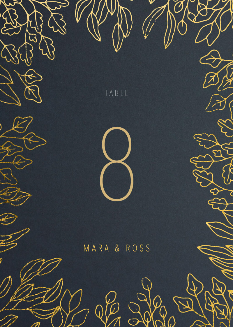Gold Foil Frame - Table Numbers
