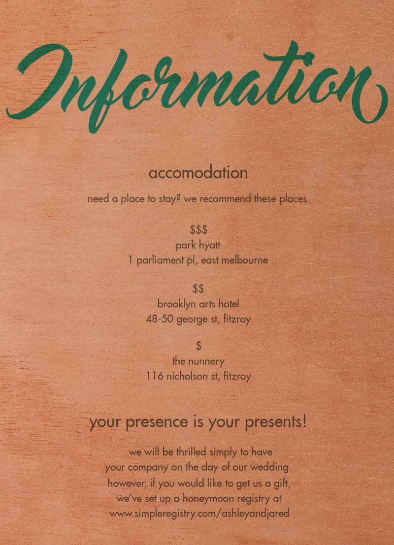 Modern Script - Information Card