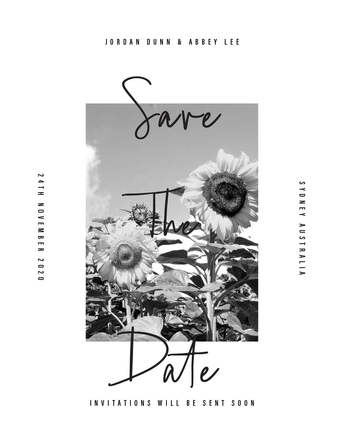 Modern Sunflower - Save The Date