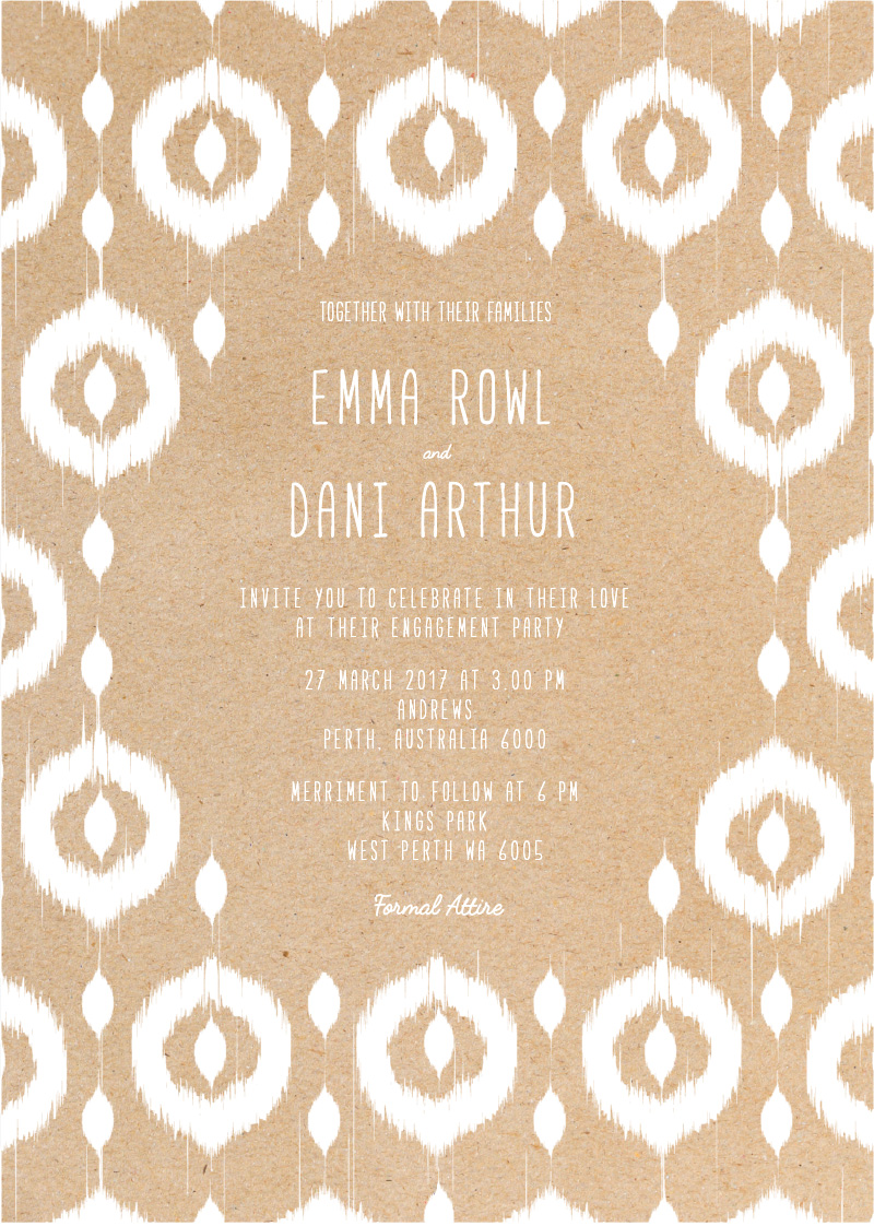 Transcended Ikat - engagement invitations