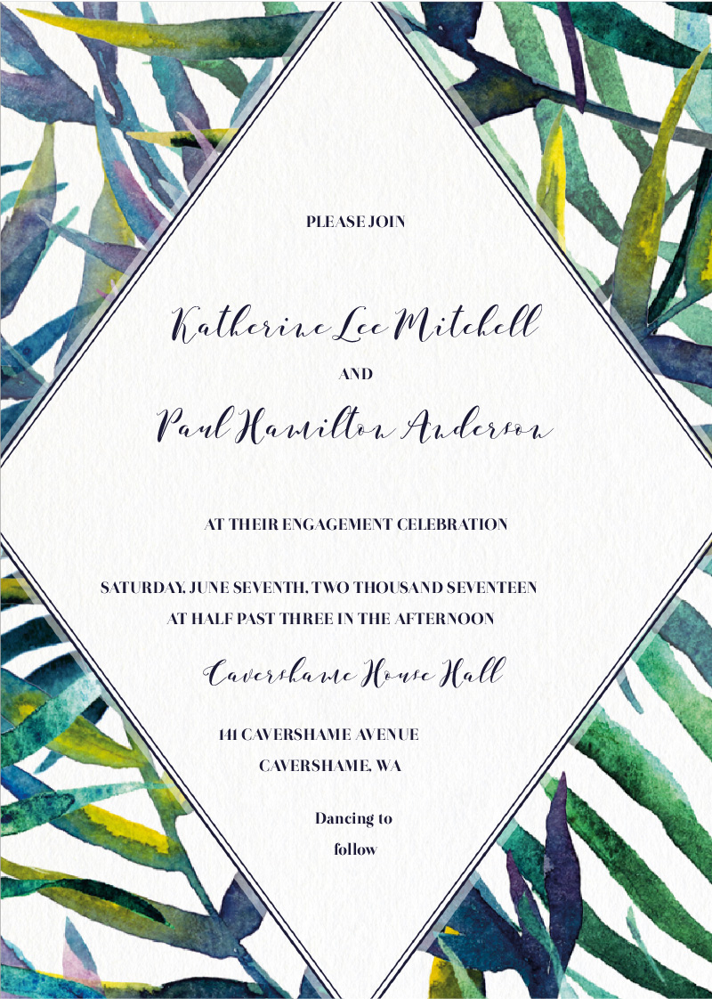 Tropic Tranquility - engagement invitations
