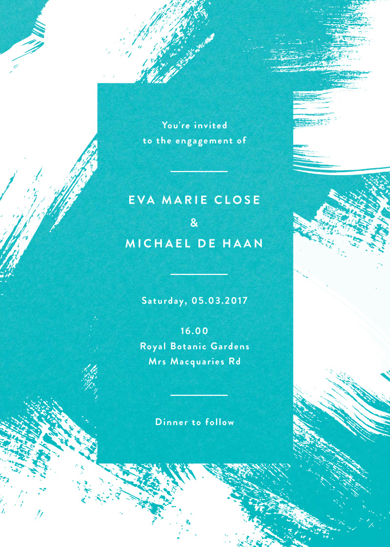 White Paint - engagement invitations