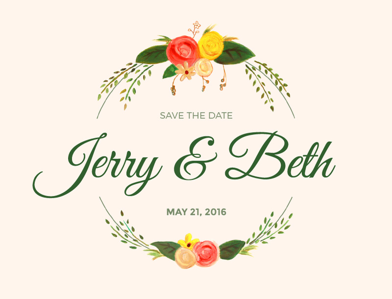 Rustic florals - Save The Date