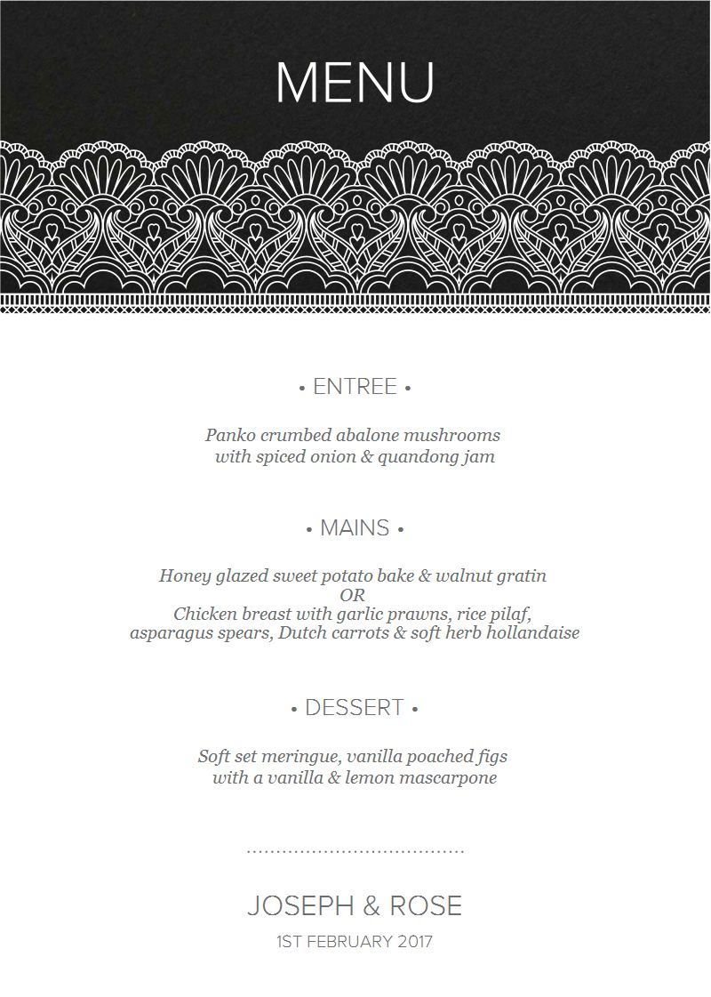 White Lace - Menu Card