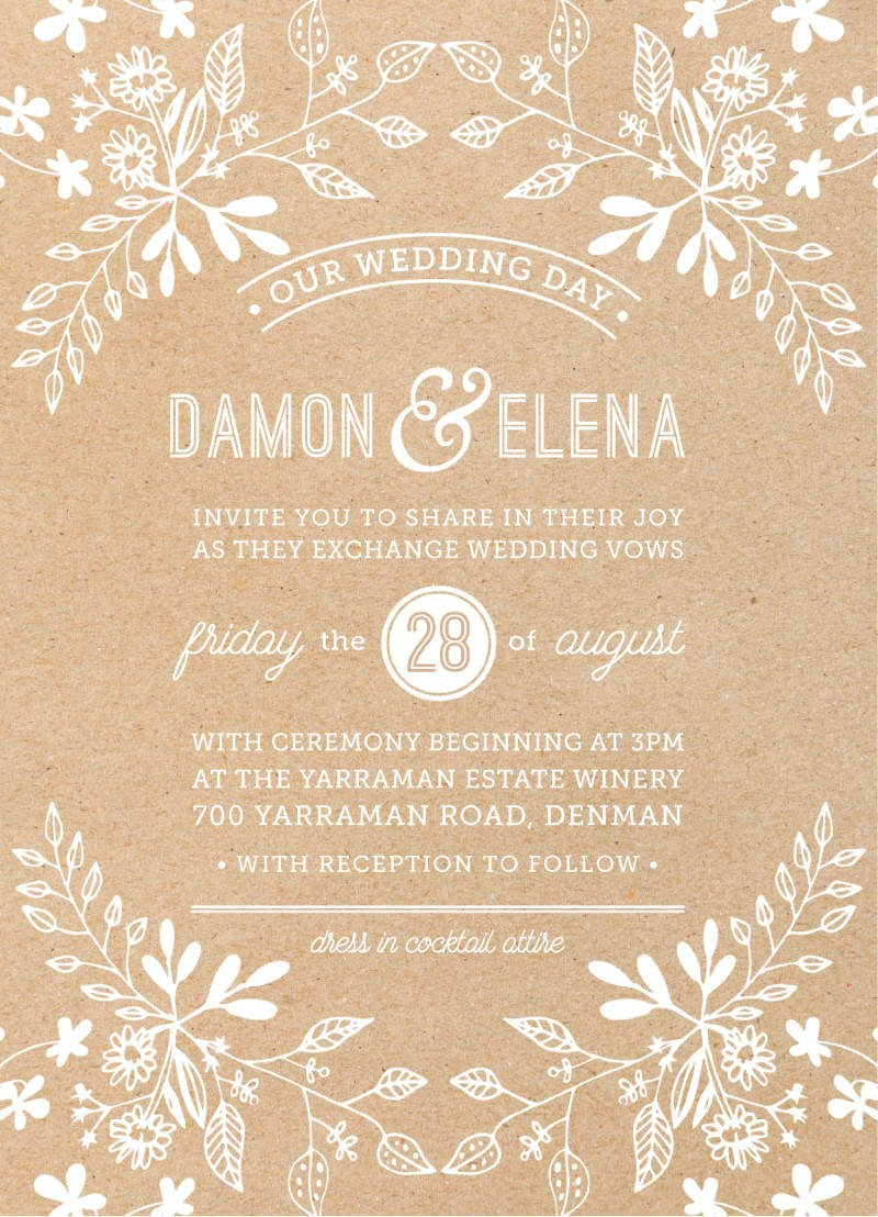 Rustic Floral Sketch - Invitations