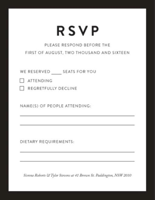 Minimal Digital Printing RSVP Cards