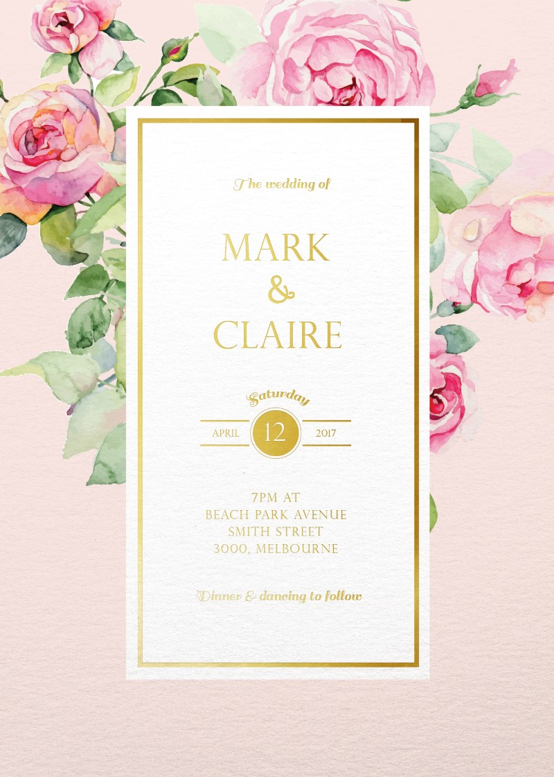 polkadot roses real foil wedding invitations