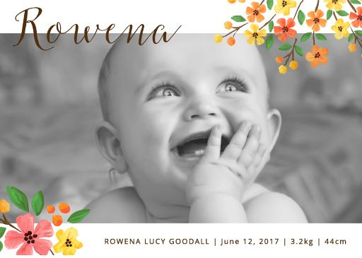 Floral announcement - baby announcements