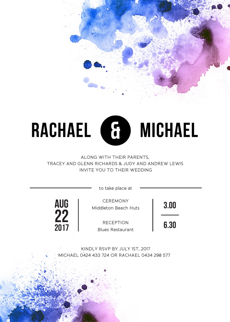Watercolour Splash | DP | Wedding Invitations