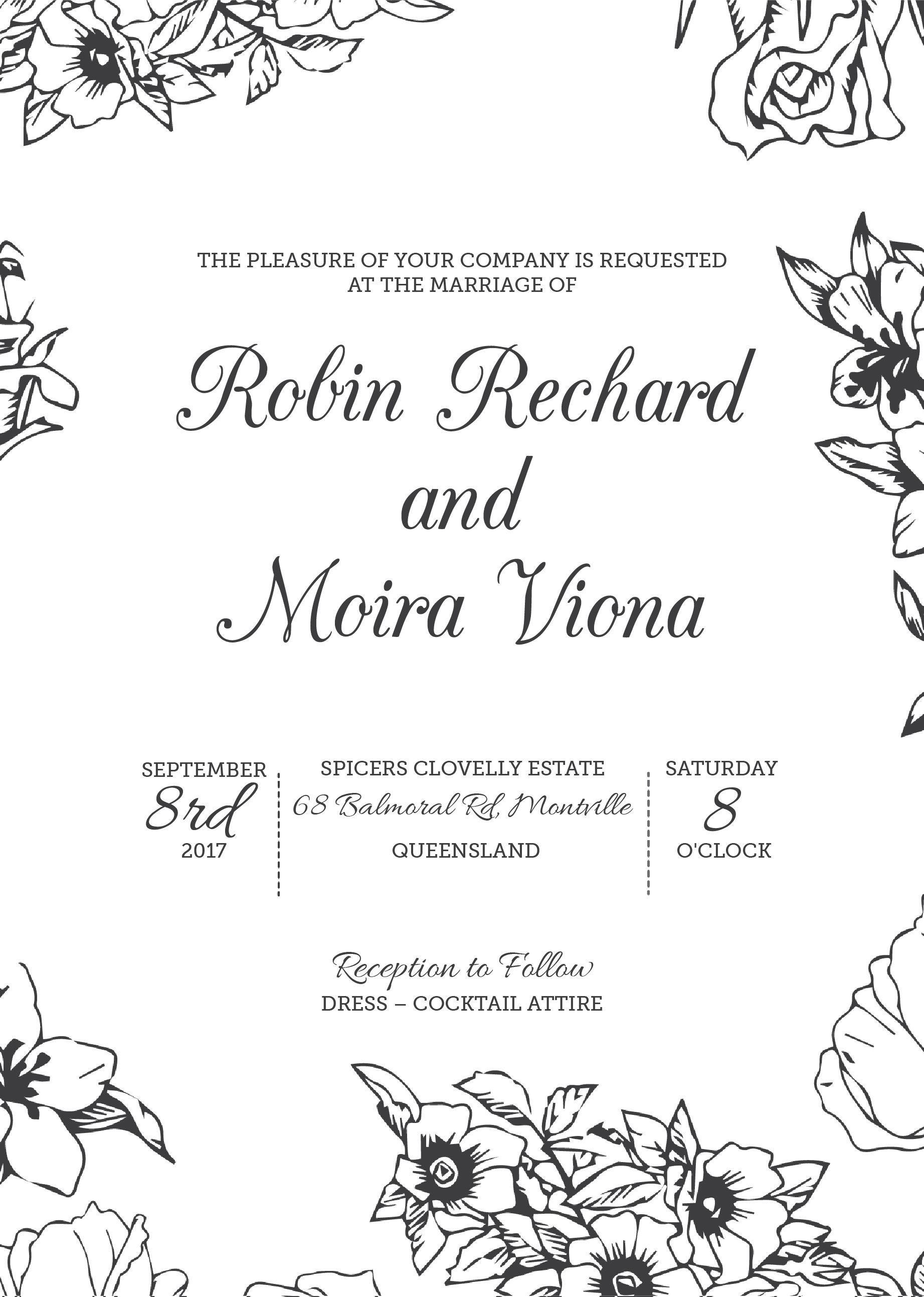 Flower Outline - Invitations