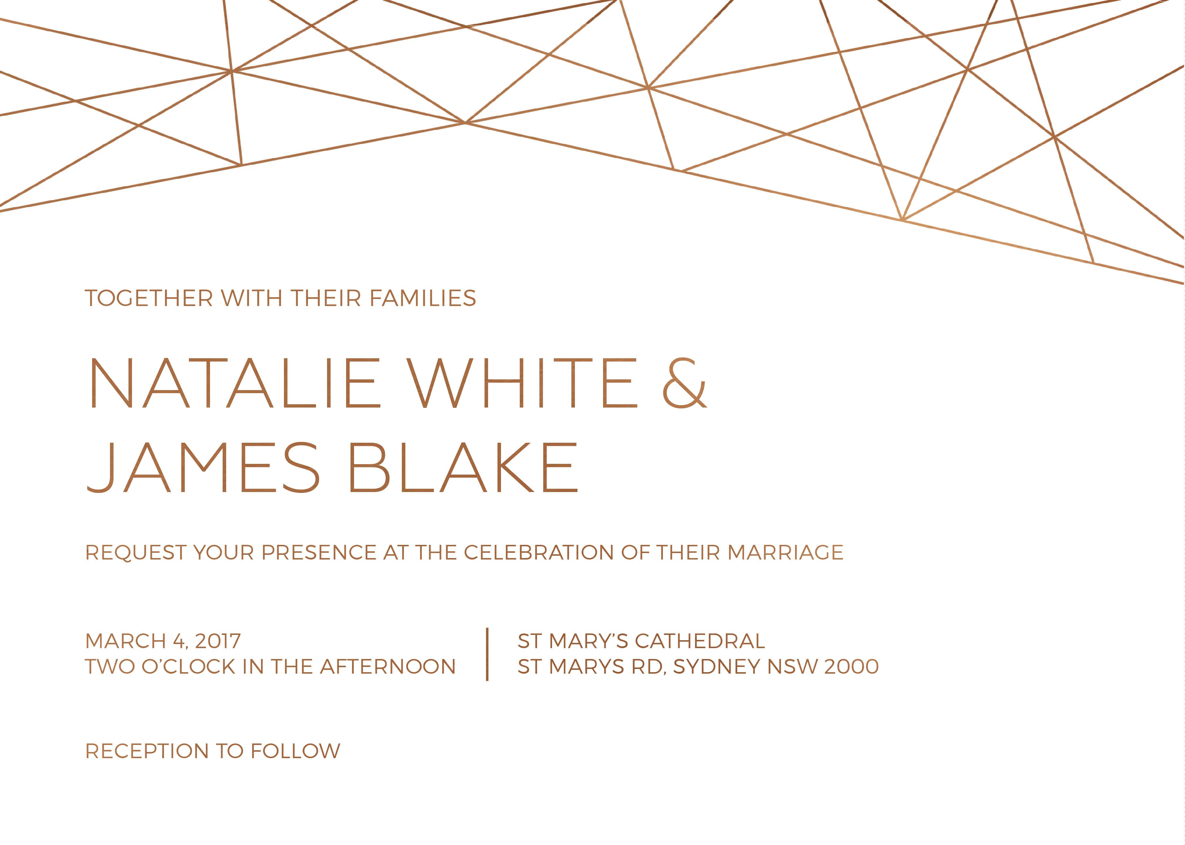 Geometric Copper | Real Foil | Wedding Invitations