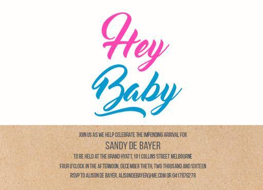 Hey Baby - Baby Shower Invitations