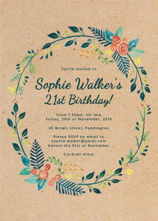 21st birthday invitations designs by creatives printed by paperlust botanical wreath birthday invitations stopboris Choice Image