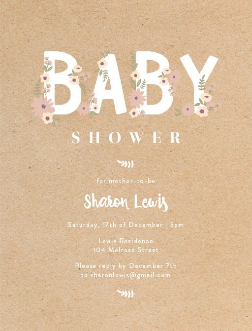 Baby Bloom  Digital Printing  Baby Shower Invitations