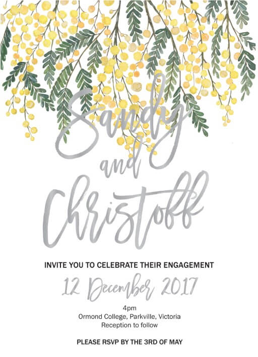 Golden Native - engagement invitations