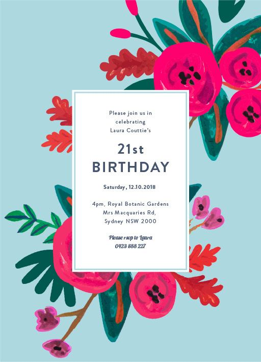 Floral Birthday DP Birthday Invitations