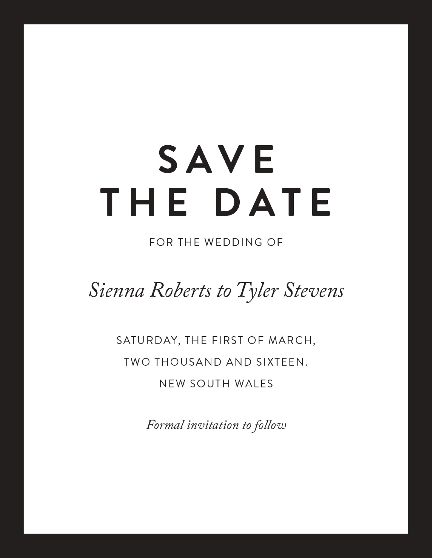 Minimal Save The Date Arrow Left Front
