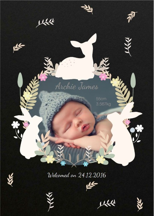 Baby Animals Leaves Flowers - baby announcements