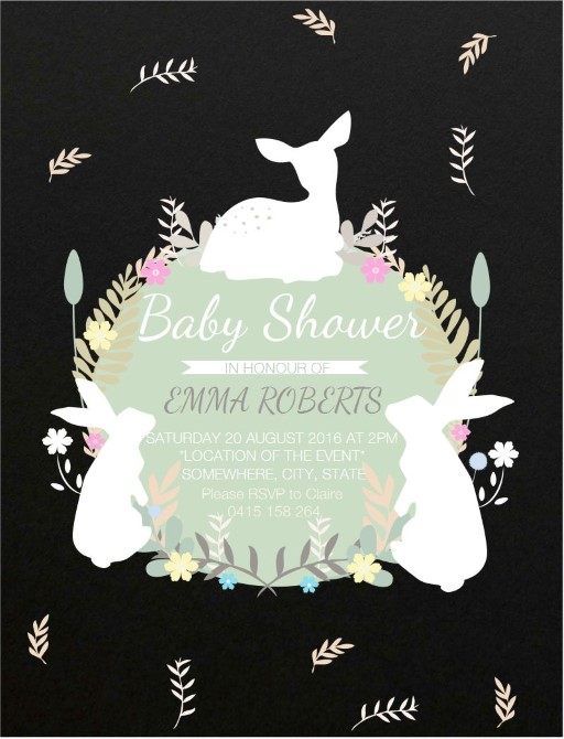 Baby Animals Leaves Flowers - Baby Shower Invitations