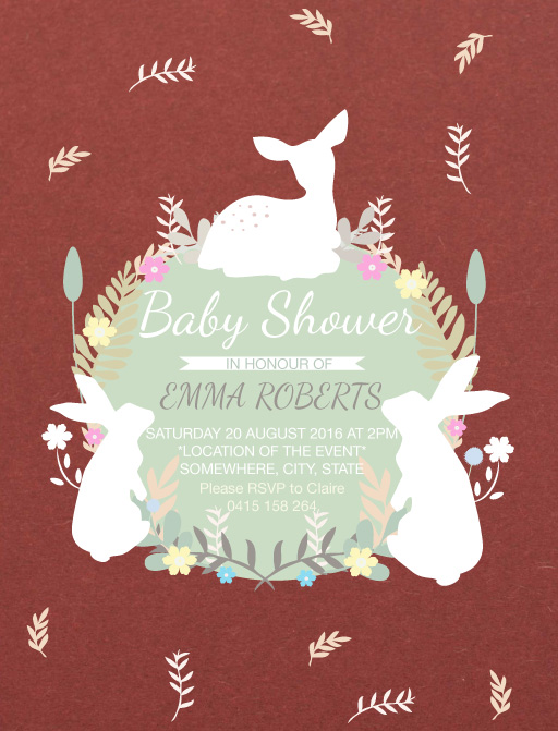 Baby Animals Leaves Flowers - Woodland Baby Shower Invitations