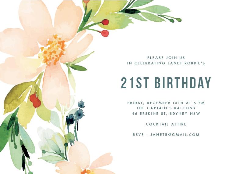 floral edge | digital printing | birthday invitations, Birthday invitations