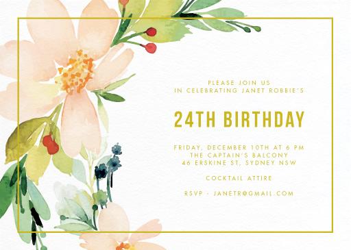Floral Edge - Birthday Invitations