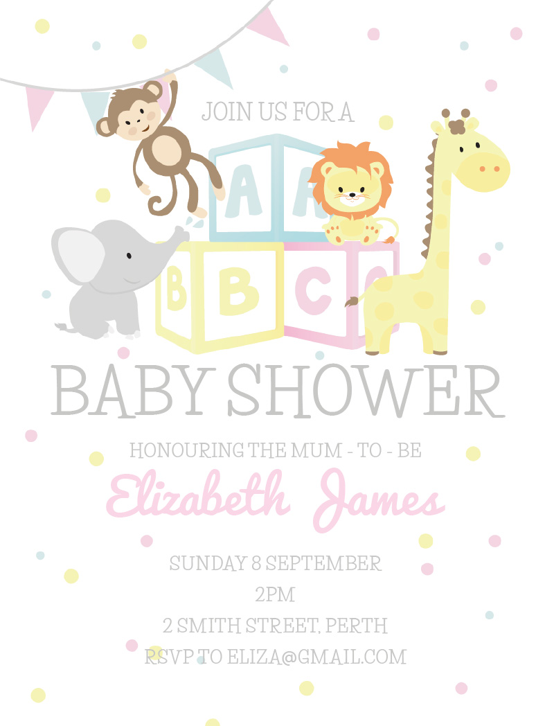 Baby shower invitations independent designs printed by paperlust abc animals baby shower invitations stopboris Images