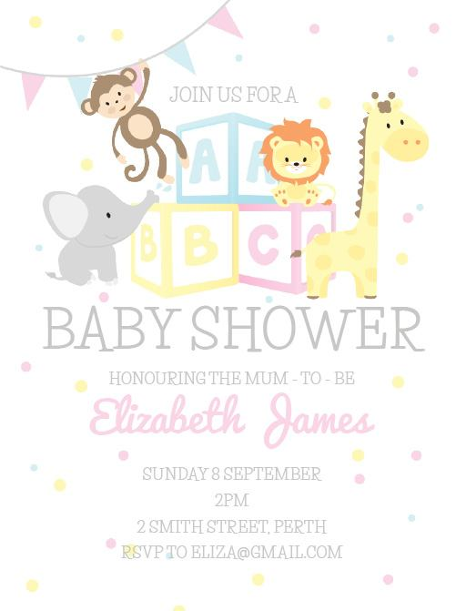 Abc Animals  Dp  Baby Shower Invitations
