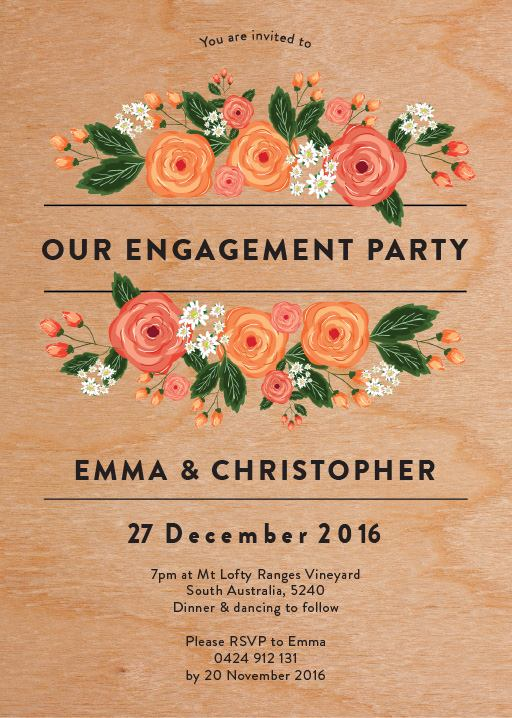 Florals - engagement invitations